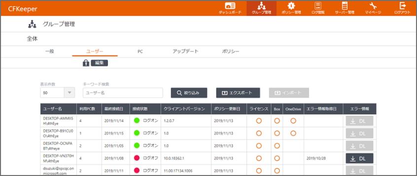 CFKeeper管理画面(イメージ)